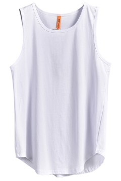 Leisure Mens Tank Solid Color Crew Neck Curved Hem Relaxed Tank Top