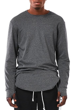 Basic Mens Tee Top Long Sleeve Crew Neck Crew-neck Curved Hem Fitted T Shirt