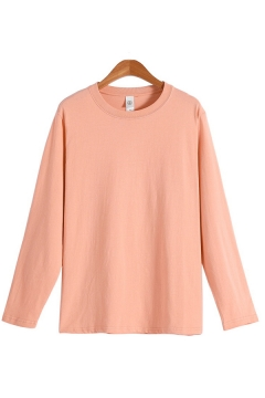Leisure Guys Tee Top Solid Color Long Sleeve Crew Neck Relaxed Fitted T Shirt