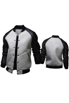 Trendy Mens Jacket Contrast Leather Patchwork Button up Slim Stand Collar Long Raglan Sleeve Varsity Jacket