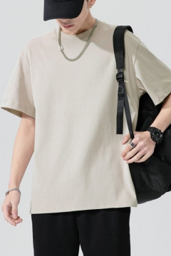 Simple Boys T-shirt Solid Color Short Sleeve Crew Neck Relaxed Fit Tee Top