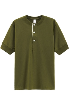 Leisure Guys Henley Tee Short Sleeve Collarless Button Up Regular Fit Henley Tee Top in Army Green