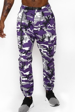 Chic Mens Sweatpants Camo Printed Belted Waist Ankle Length Straight Sweatpants