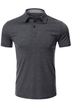 Fashionable Mens Polo Shirt Button Detail Short Sleeve Turn-down Collar Slim Fit Polo Shirt