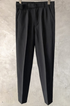 Simple Mens Pants Solid Color Mid Rise Ankle Length Straight Pants
