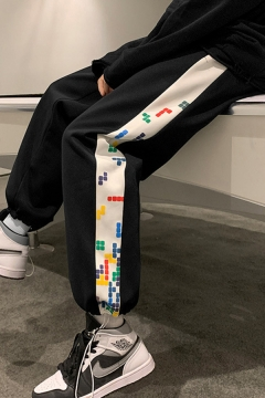 Guys Chic Sweatpants Tetris Printed Drawstring Waist Ankle Carrot Fitted Sweatpants