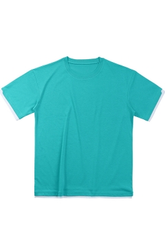 Simple Mens T Shirt Contrasted Short Sleeve Crew-neck Loose Fit Tee Top