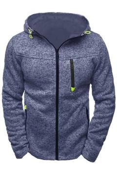Basic Hoodie Mens Space Dye Zipper down Long Sleeve Slim Hooded Sport Jacket