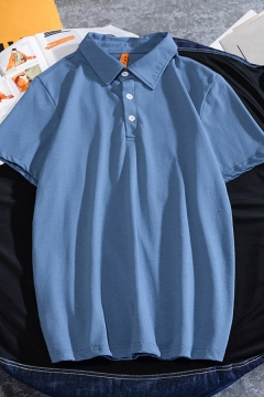Stylish Mens Polo Shirt Solid Color Short Sleeve Point Collar Loose Fit Polo Shirt