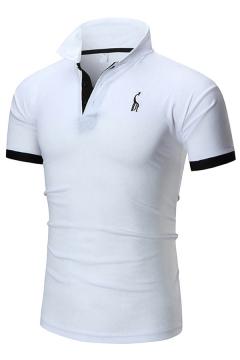 Chic Mens Polo Shirt Giraffe Pattern Contrast Trim Turn-down Collar Button Detail Short Sleeve Slim Fit Polo Shirt