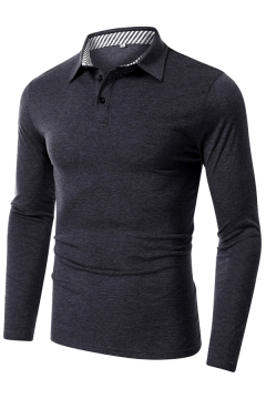 Trendy Mens Polo Shirt Solid Color Turn-down Collar Button Detail Long Sleeve Slim Fit Polo Shirt