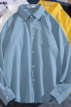 Stylish Shirt Plain Long Sleeve Point Collar Button Up Chest Pocket Loose Fit Shirt for Boys