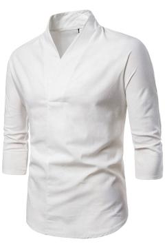 Classic Mens Tee Shirt Plain Color Linen V Collar Half Sleeve Slim Fit T-Shirt