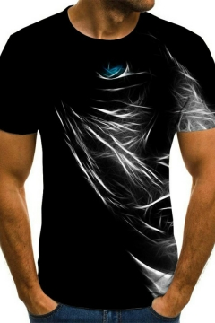 Men Popular Tee Top 3D Whirlpool Patterned Round Neck Short Sleeve Fitted Tee Top