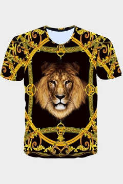 Mens Tee Top 3D Printed Round Neck Short-Sleeved Slim Fit T-Shirt