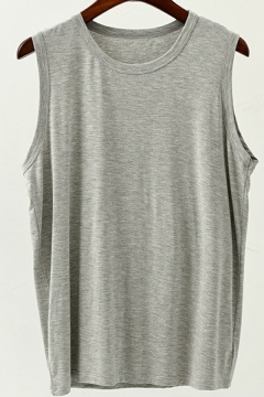 Classic Tank Pure Color Crew Neck Sleeveless Loose Fitted Tank for Men