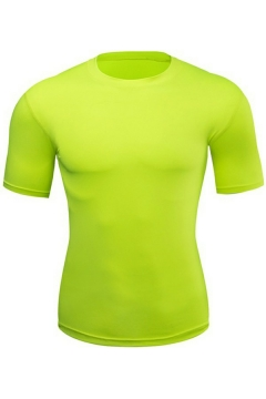 Guys Simple Tee Top Solid Color Crew Neck Short-sleeved Extra Slim Fit Tee Top