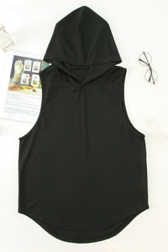 Stylish Mens Tank Top Pure Color Sleeveless Loose Fitted Tank with Hooded