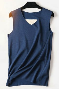 Basic Men's Tank Top Solid Color V-Neck Sleeveless Slim Fitted Tank Top