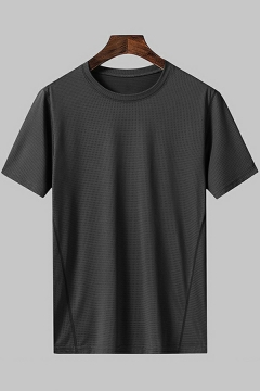 Causal T-shirt Pure Color Crew Neck Short Sleeves Regular Fitted Tee Top