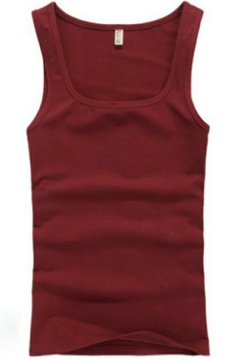 Dashing Mens Tank Pure Color Sleeveless Crew Neck Slim Fitted Tank Top