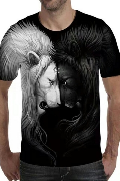 Men's Creative T-Shirt 3D Lion Pattern Round Neck Short-Sleeved Relaxed Fit T-Shirt