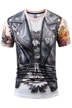 Men Creative T-Shirt 3D Figure Printed Crew Neck Short-sleeved Fitted T-Shirt
