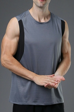 Unique Men's Vest Color Block Round Neck Sleeveless Loose Fitted Tank