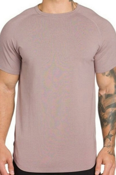 Trendy Men's T-Shirt Pure Color Short Sleeve Crew Neck Regular Fitted T-Shirt