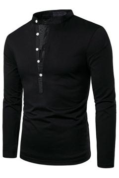 Men Basic Designed T-Shirt Solid Notch Collar Button Closure Long Sleeve Regular Fit T-Shirt