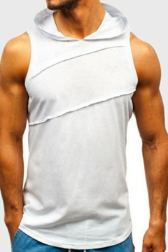 Fancy Vest Whole Colored Ripped Designed Sleeveless Slimming Hooded Tank Top for Teenagers