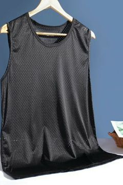 Breathable Mens Tank Top Pure Color Sleeveless Crew Neck Quick-Dry Loose Fitted Tank
