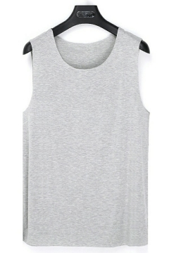 Casual Mens Tank Solid Color Sleeveless Crew Neck RegularFitted Tank Top