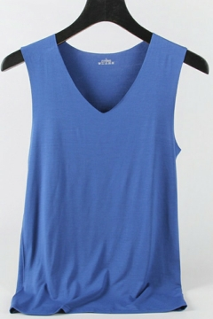 Casual Men's Tank Pure Color V-neck Sleeveless Regular Fitted Vest Top