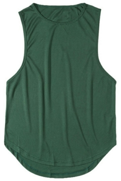 Trendy Men's Tank Pure Color Sleeveless Crew Neck Loose Fitted Tank Top