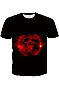 Cool Mens T-Shirt 3D Skull Pattern Short Sleeved Crew Neck Regular Fit T-Shirt