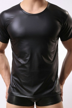 StreetLook Black Tee Top Solid Color Leather Round Collar Short Sleeves Slim Fitted T-Shirt for Men