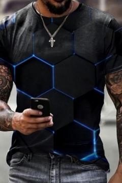 Trendy Men's Tee Top 3D Print Crew Neck Short Sleeve Slim Fit T-Shirt