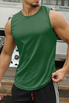 Leisure Mens Tank Top Pure Color Sleeveless Crew Neck Curved Hem Loose Fit Tank