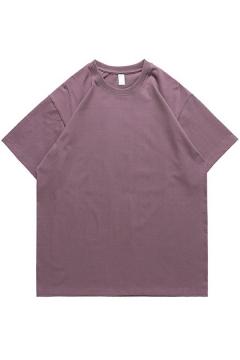 Men Leisure T-shirt Plain Drop Shoulder Short Sleeve Round Collar Oversize T-shirt