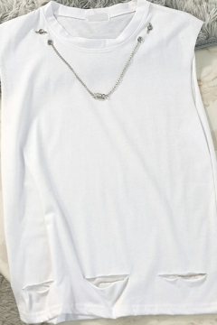 Urban Necklace Decoration Tank Crew Neck Relaxed Fitted Tank Top for Men