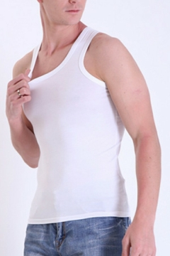 Fashionable Tank Pure Color Sleeveless Crew Neck Extra Slim Fit Tank Top for Men