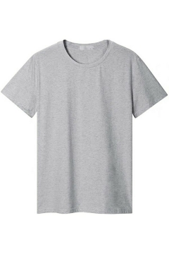 Soft T-Shirt Pure Color Round Neck Short Sleeve Fitted T-Shirt for Men
