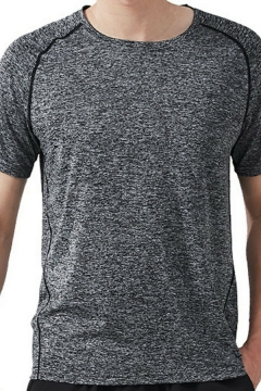 Chic Tee Shirt Space Dye Pattern Short Sleeves Crew Neck Slim Fitted Tee Top for Men