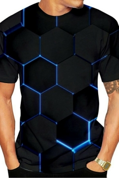 Guys Novelty T-Shirt 3D Patterned Crew Neck Short Sleeves Regular Fit T-Shirt