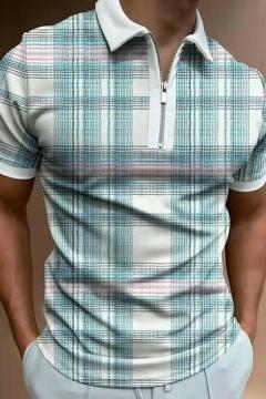 Novelty Guys Tee Top Plaid Print Turn-down Collar 1/4 Zip Short Sleeves Fitted Tee Top