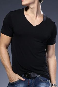 Vintage Boys Tee Top Space Dye Printed V-Neck Short-sleeved Slimming Hot T-Shirt