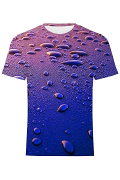 Street Look Mens Tee Top 3D Print Crew Neck Short-Sleeved Regular Fitted T-Shirt