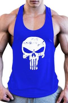 Chic Men's Tank Skull Printed Scoop Neck Sleeveless Slim Fitted Tank Top