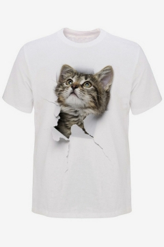 Creative Mens T-Shirt 3D Cat Print Round Neck Short Sleeves Relaxed Fit T-Shirt